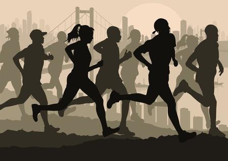 atleta corriendo: Corredores de marat�n en la ilustraci�n de fondo urbano de la ciudad paisaje