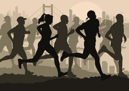 woman run: Marathon runners in urban city landscape background illustration Illustration