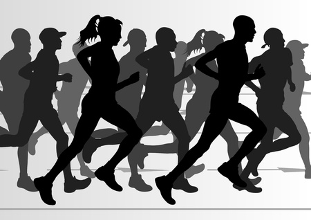 Marathon runners in urban city landscape background illustration Vector
