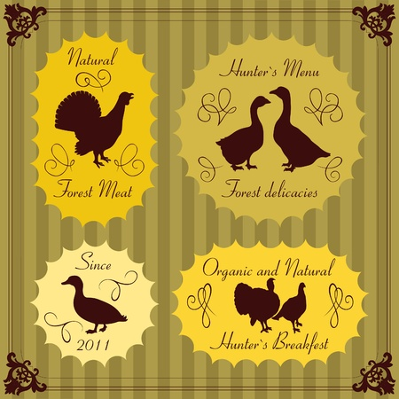 Forest bird hunters food labels illustration collection Vector