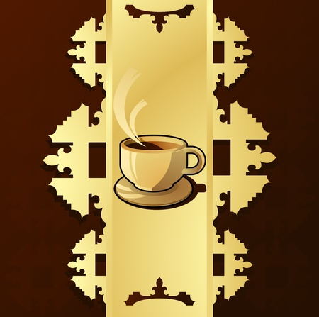 Vintage menu with cup of coffee vector background Vector