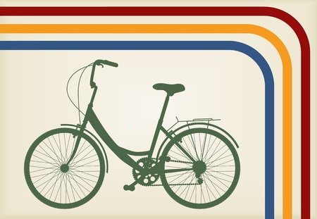 high road: Vintage woman bike vector background