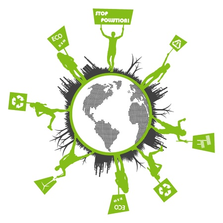 demonstrator: Green people protest, picket against pollution. Ecology world concept vector.