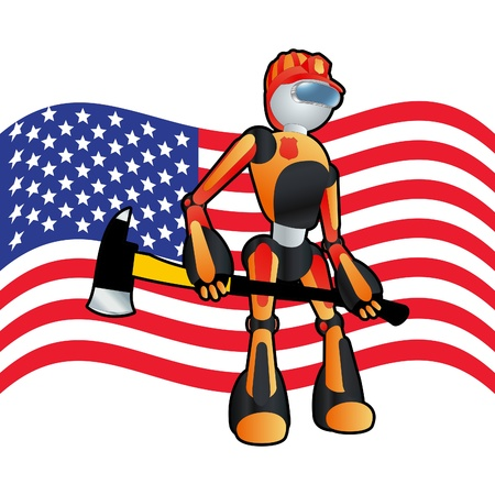 Patriotic american fireman robot background illustration Stock Vector - 10803590