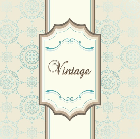 fine dining: Vintage menu vector background with blue elements