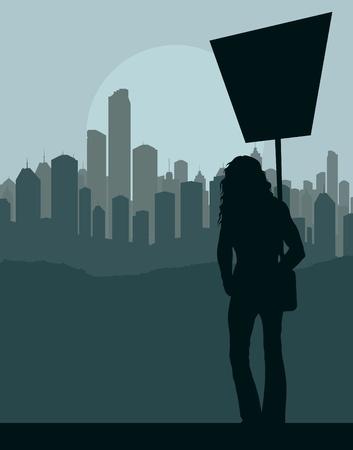 shadow people: Protester landscape background illustration Illustration