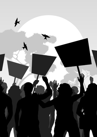 revolution: Protesters crowd landscape background illustration