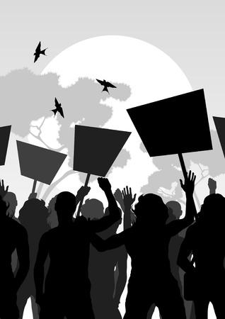 Revolution: Protesters crowd landscape background illustration