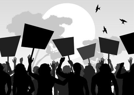 political rally: I manifestanti folla paesaggio illustrazione sfondo Vettoriali