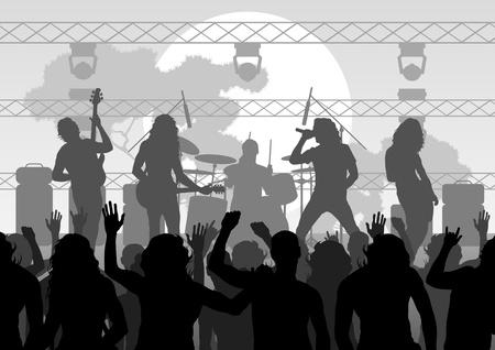 Illustrazione del fondo del paesaggio di concerto rock Vettoriali