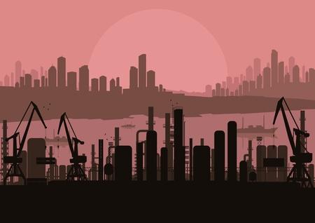 air port: Industrial factory landscape background illustration