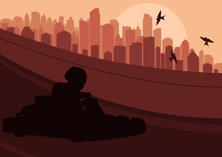 kart: Go cart driver race track and skyscraper city landscape background illustration