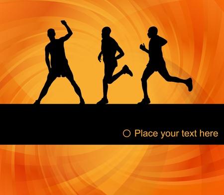 Marathon runners landscape background illustration Vector