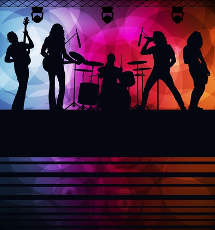 guitarristas: Fondo de vector de banda de rock con luces de ne�n