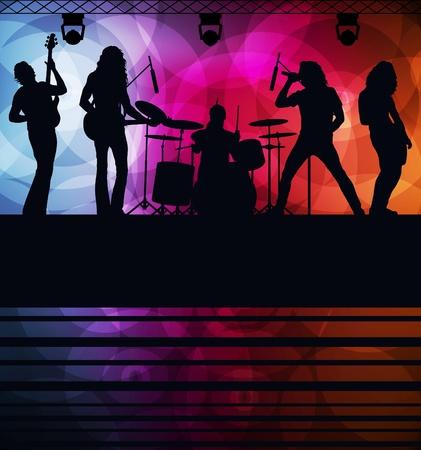 popular music concert: Rock band vector background con luci al neon
