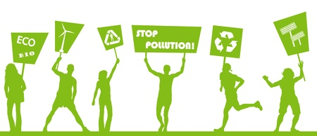 picket green: Green people protest, picket against pollution. ecology world concept vector.
