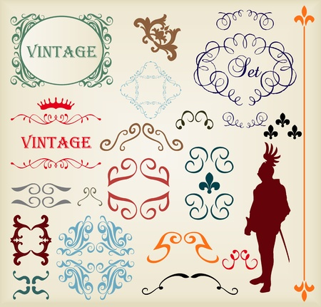 Vintage vector background elements set for book cover or card Stock Vector - 10803572