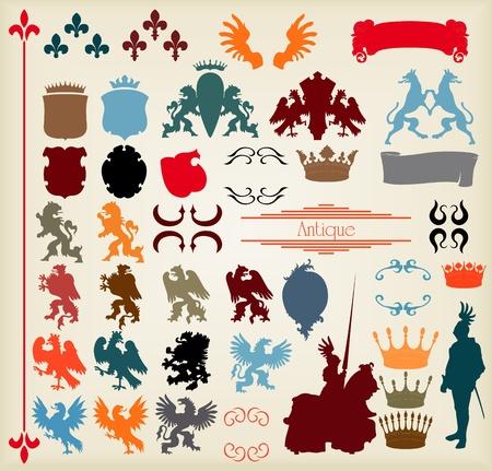 rey medieval: Her�ldico elementos conjunto de vectores Vectores