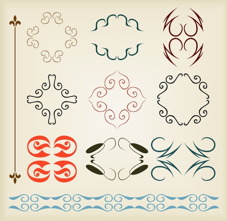 Vintage vector background elements set for book cover or card Stock Vector - 10803569