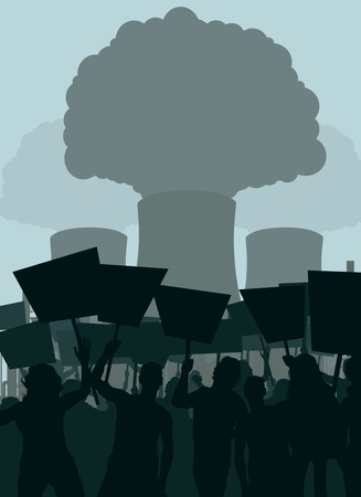 vector nuclear: Demonstration against nuclear power plant vector background