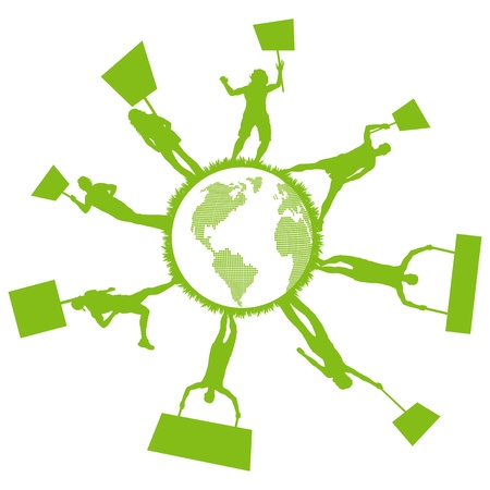 environmental awareness: Green people protest, picket against pollution. ecology world concept vector.