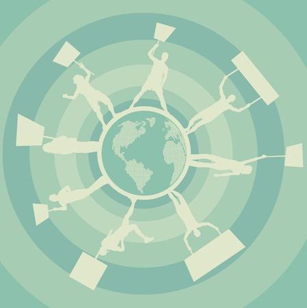 objecion: Manifestaciones en todo el mundo de fondo vector Vectores