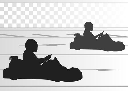 Go cart drivers race track landscape background illustration Vector