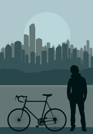 A fixed-gear bicycle (or fixie) and young men in front of city skyscraper background vector Vector