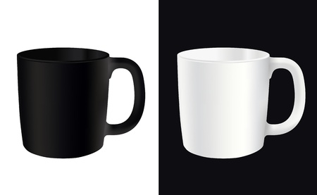 angle views: White cup on a white background and the other way vector