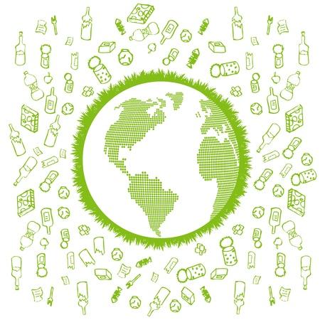 conciencia ambiental: Reciclaje de basura concepto de vectores de fondo