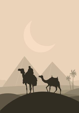 cleopatra: Bedouin camel caravan in wild Africa pyramid landscape illustration