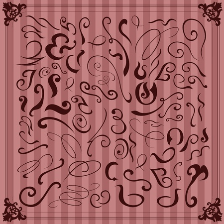 Vintage hand drawn floral elements illustration collection Stock Vector - 10803585