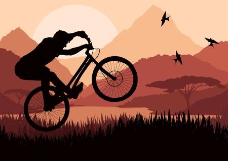 Mountain bike rider in wild nature landscape illustration Vector