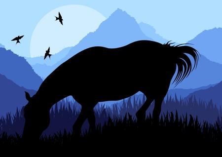 wild prairie: Animated horse in wild nature landscape illustration Illustration