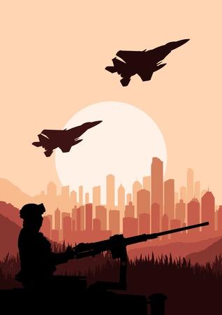 tanque de guerra: Soldado del Ej�rcito en la ilustraci�n de fondo del paisaje del desierto Vectores