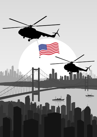 Army helicopters with USA flag in skyscraper city landscape illustration Vector