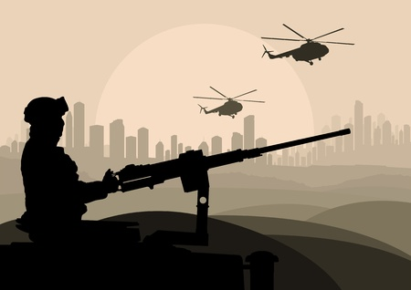 temple tank: Army soldier in desert landscape background illustration Illustration