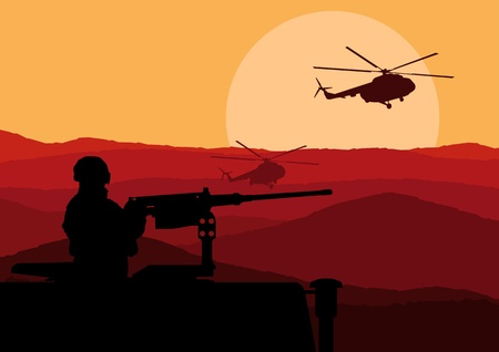 silhouette soldat: Soldat de l'armée dans le désert, paysage de fond illustration Illustration