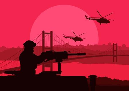 natural forces: Army soldier in desert landscape background illustration Illustration