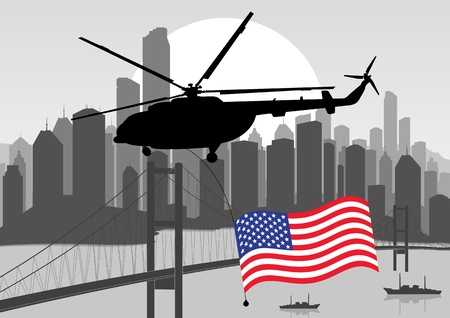 navy ship: Army helicopters with USA flag in skyscraper city landscape illustration