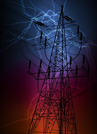 powerline: High voltage tower and line background vector