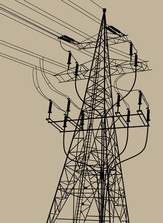 electricity pole: High voltage tower and line background vector