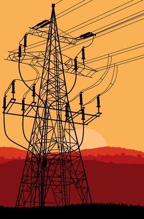 High voltage tower and line background vector Stock Vector - 11058876