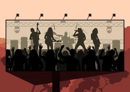 rock concert: Roca anuncio concierto ilustraci�n de fondo Vectores