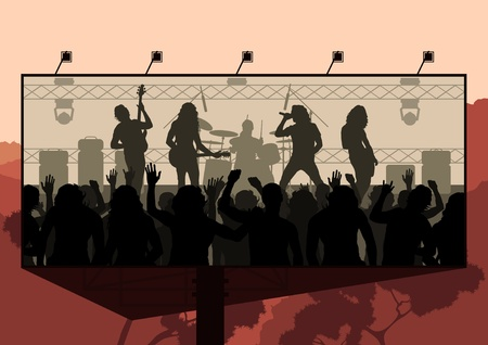 fan dance: Rock concert advertisement background illustration