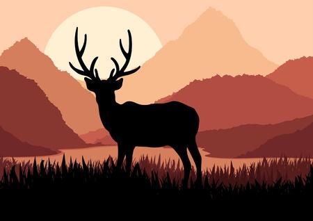 silhouette arbre hiver: Cerf dans illustration nature paysage sauvage