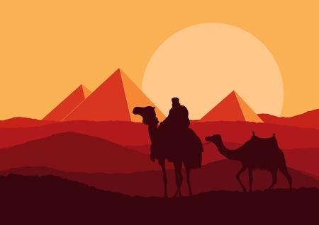 Camel en la ilustración paisaje salvaje de África pirámide