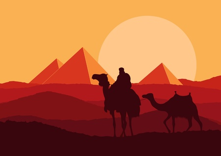egyptian pyramids: Camel in wild Africa pyramid landscape illustration Illustration