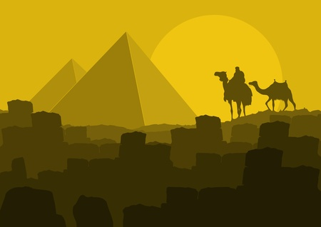 desert storm: Camel in wild Africa pyramid landscape illustration Illustration