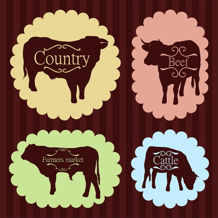 Beef cattle food labels illustration collection Vector